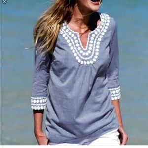 Boden Cotton Embroidered Blue Top